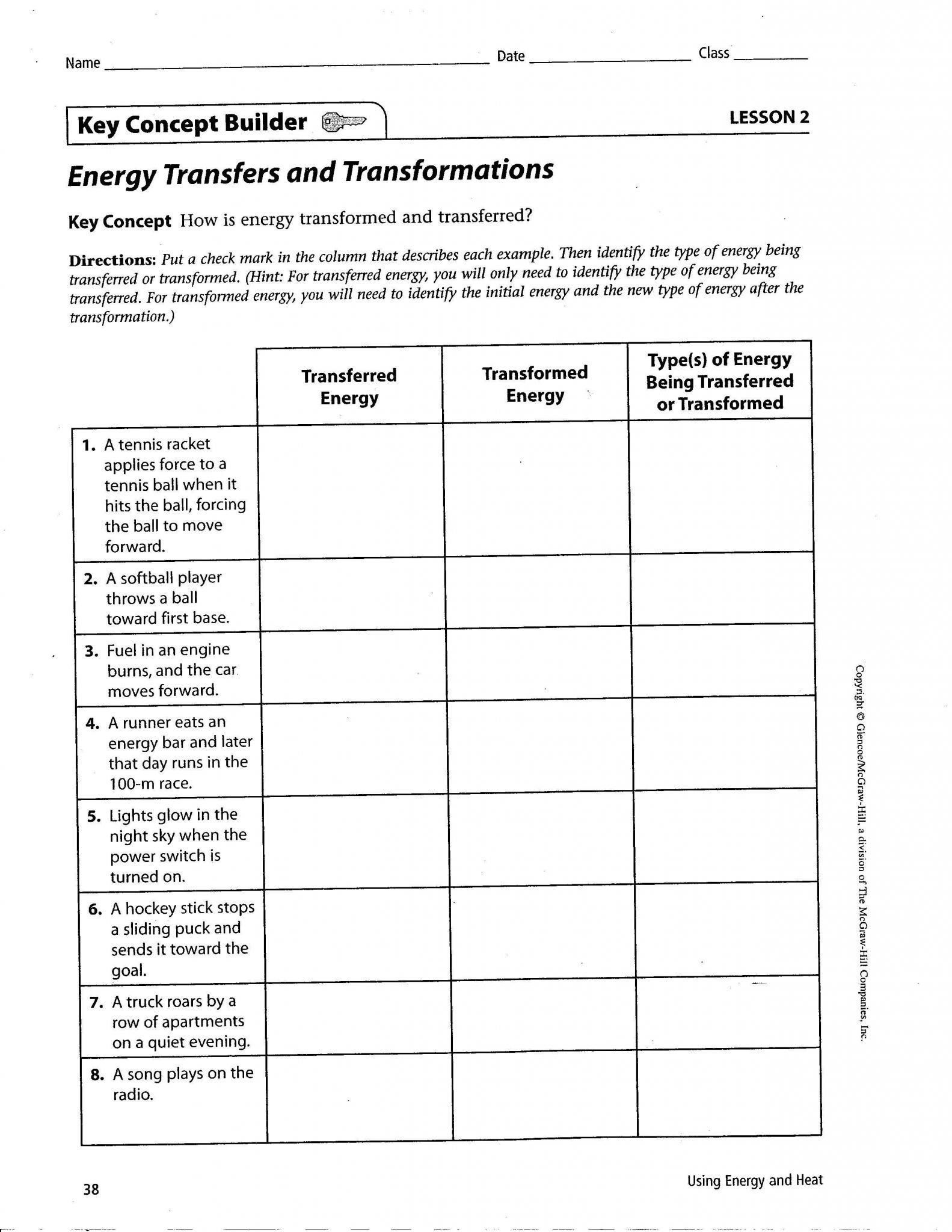 Energy Transformation Worksheet Middle School Linear