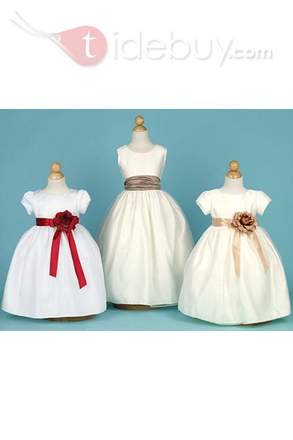 Attractive Ball Gown Floor-length Scoop Flower Embellishing Flower Girl Dress