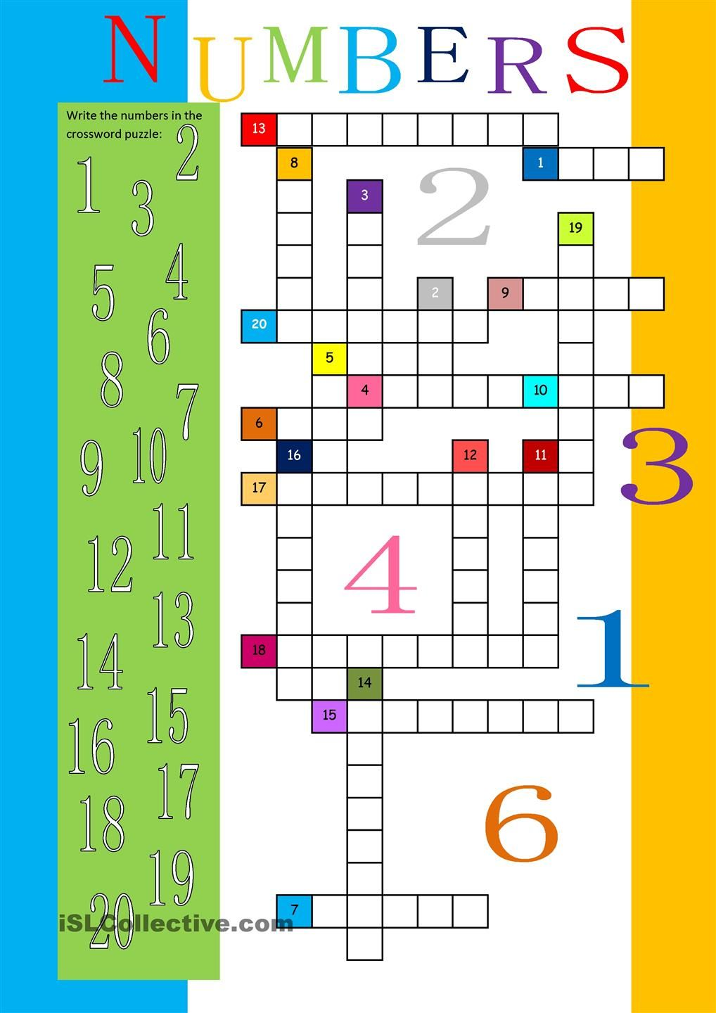 numbers 1 20 crossword math for adults pinterest numbers