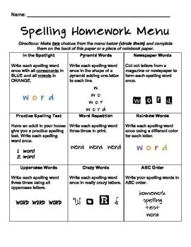 multiple spelling homework menus for grades 2 3 4 teaching spelling homework spelling. Black Bedroom Furniture Sets. Home Design Ideas
