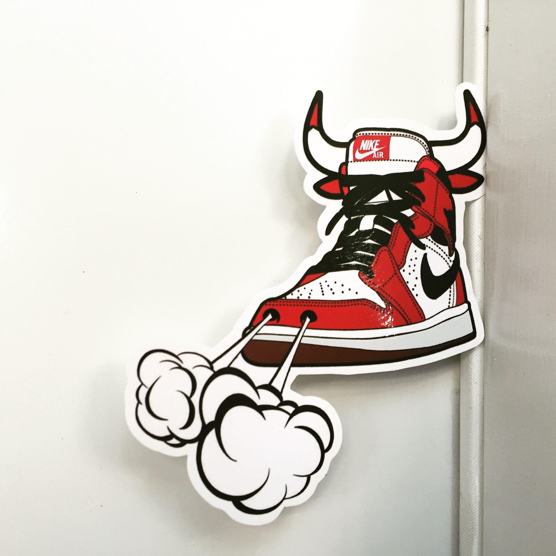 Michael Jordan 1 Sneakers NIKE AIR CHICAGO BULLS , Height 9 cm, decal  sticker visit