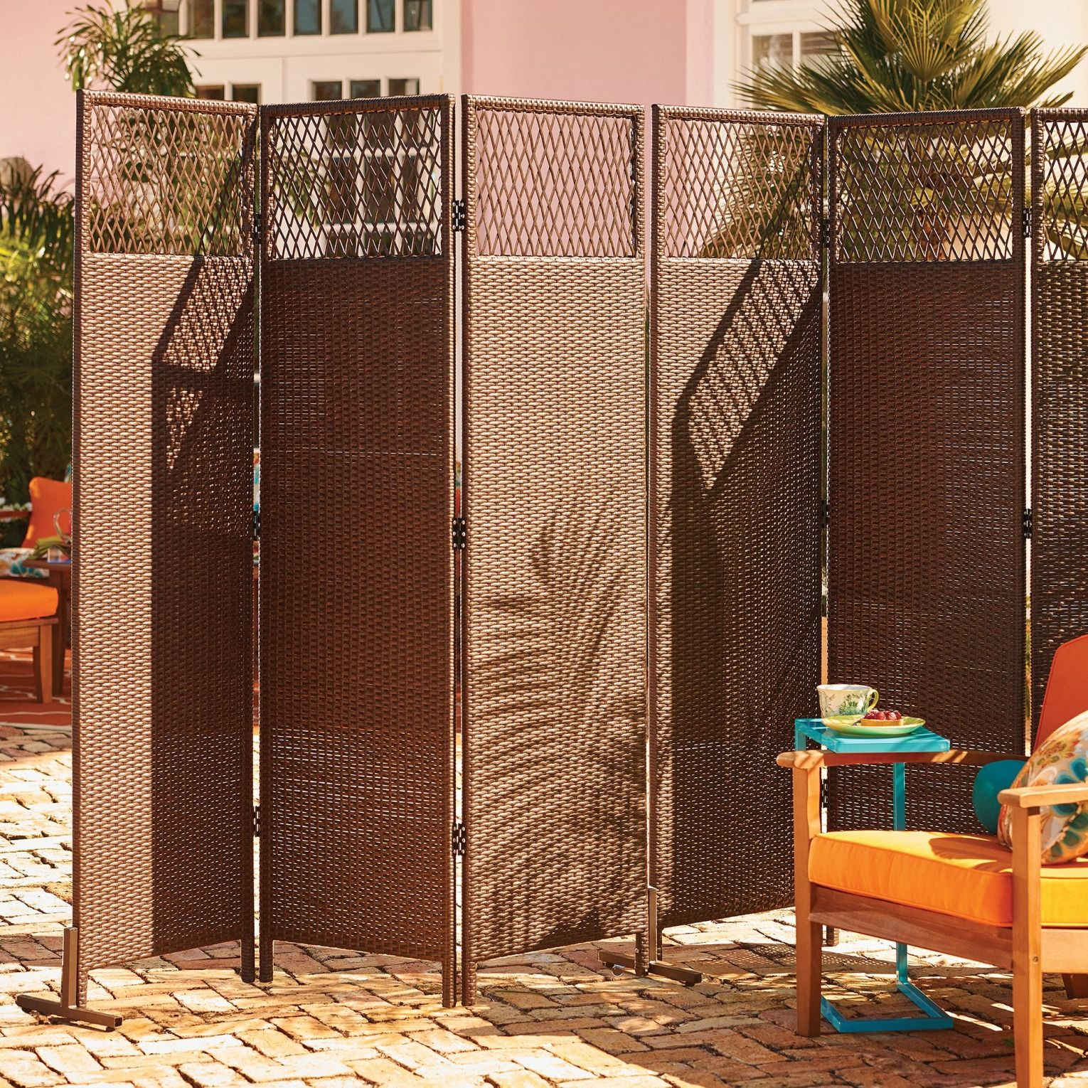 nouvelle 3 panel resin wicker privacy screen deck patio outdoor