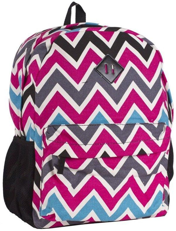 Ever Moda Black Multicolored Chevron Backpack School Bags