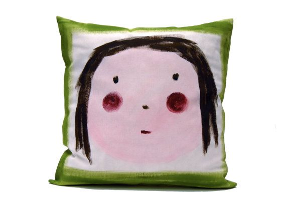 Pillow Cover Green Cushion Happy Girl Home Decor By Beccatextile 25 99 Kids Pillow Covers Kids Pillows Designer Fabric Pillows
