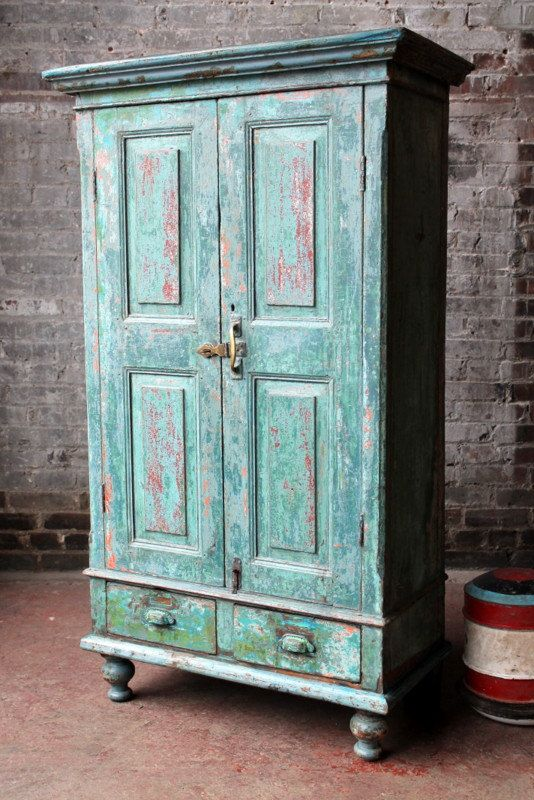 Antique Kitchen Cupboard Storage Cabinet Media Indian Green Red Turquoise Global Farm Chic