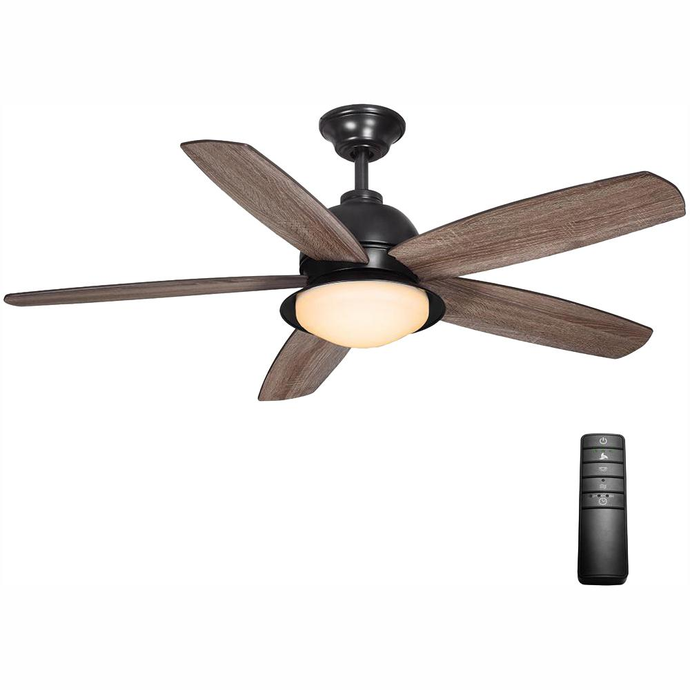 Home Decorators Collection Ackerly 52 In Integrated Led Indoor Outdoor Natural Iron Ceiling Fan With Light Kit And Remote Control Ceiling Fan Bronze Ceiling Fan