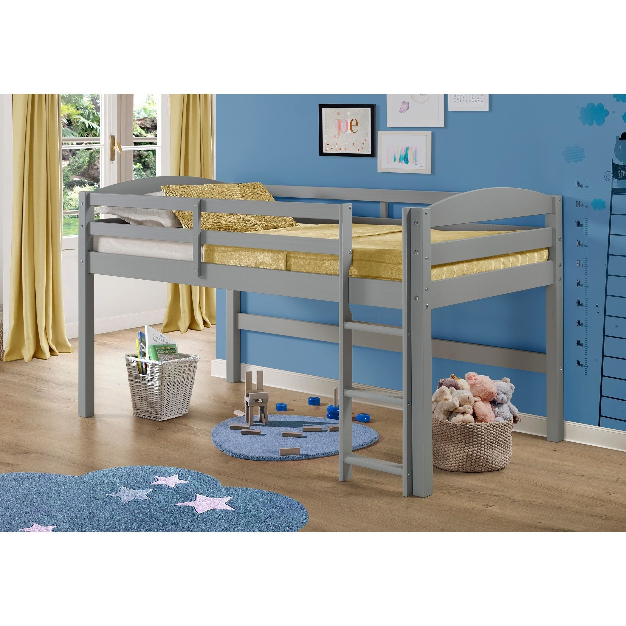 Twin bed loft bed  Solid Wood Low Loft Twin Bed Grey  Grey Finish  Loft twin bed