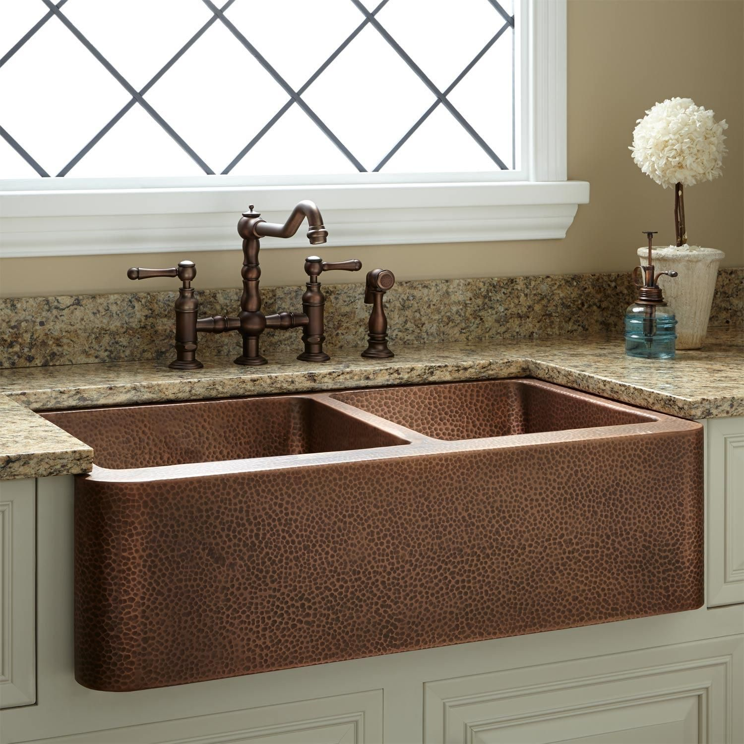 33 Hammered Copper 60 40 Offset Double Bowl Farmhouse Sink In