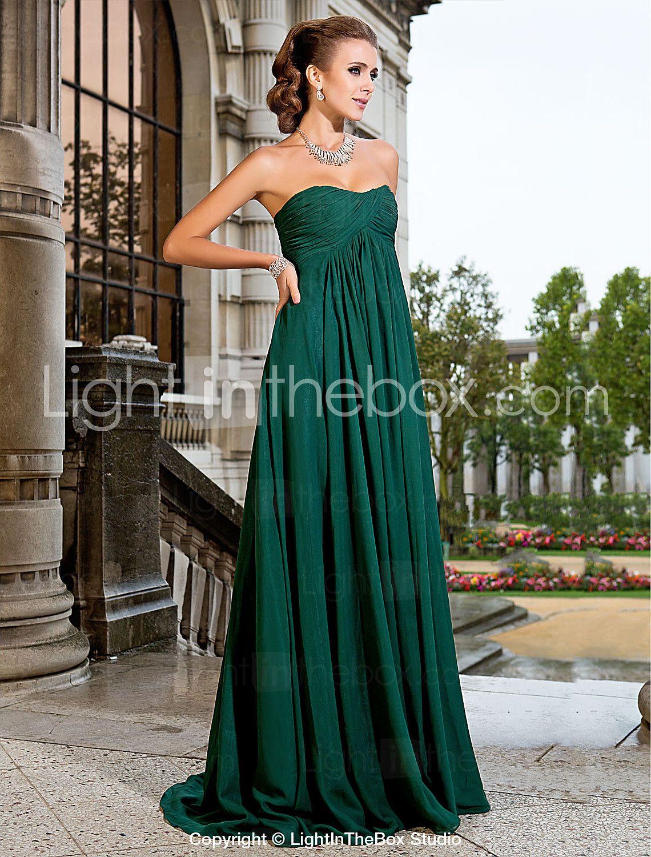 Aline princess strapless sweep brush train chiffon prom dress
