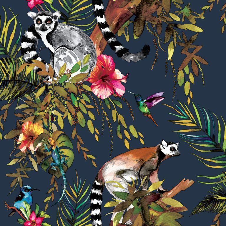Kooky Lemur Wallpaper in Midnight Blue Feature wallpaper