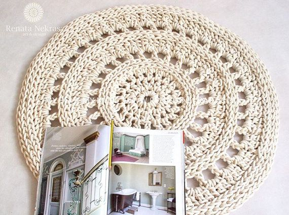 Ecru, cotton rope, round rug, crochet rug, crochet carpet, knitted ...