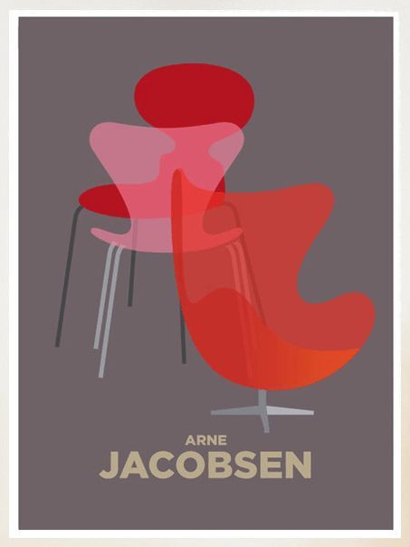 The Pioneer Collective Illustration Invision Furniture Graphic Poster Design Arne Jacobsen