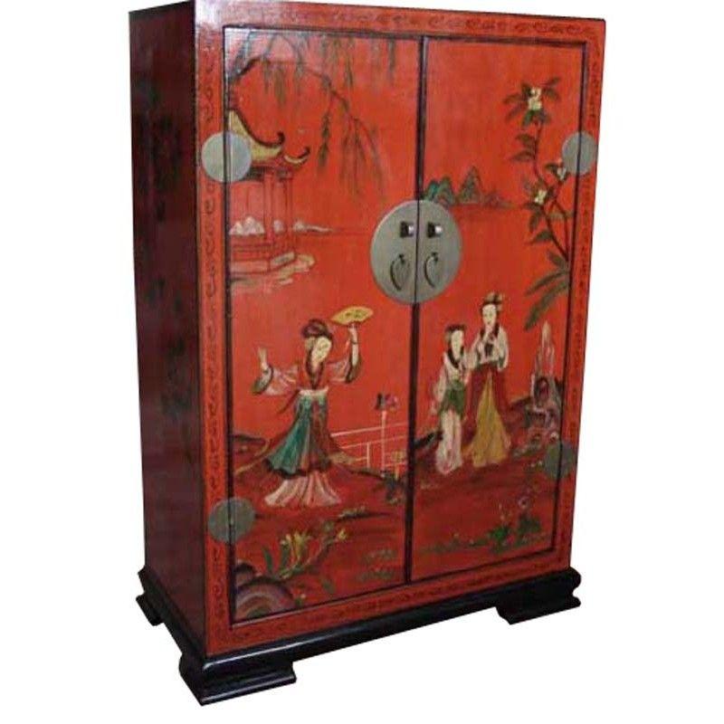 Meuble d\u0027appoint chinois rouge avec personnages peints Bois peint - meuble en bois repeint