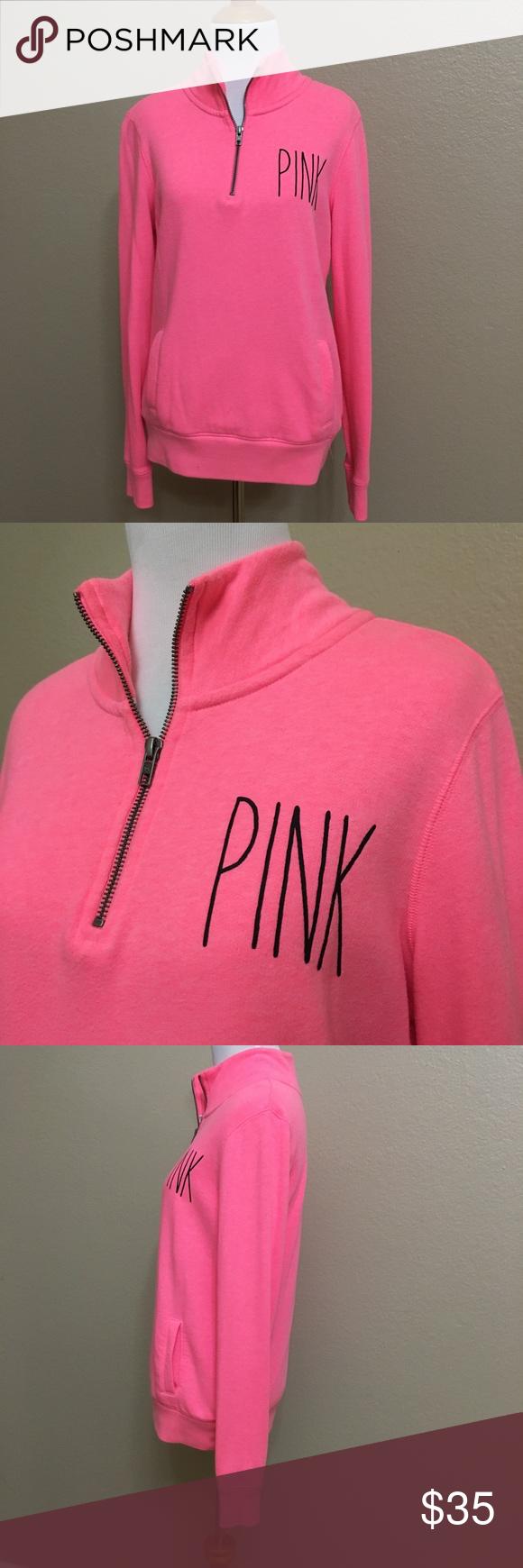 Pink Victoria's secrets half zip sweater | Half zip sweaters, Zip ...