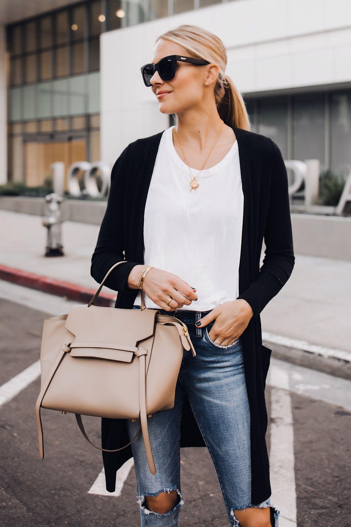 ef1db942655 Blonde Woman Wearing Black Cardigan White Tshirt Ripped Skinny Jeans Celine  Mini Belt Bag Fashion Jackson San Diego Fashion Blogger Street Style