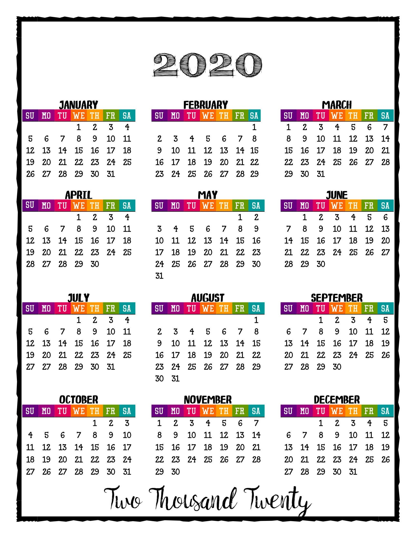2020 PRINTABLE Caribbean Color Calendar 2020 Wall Calendar