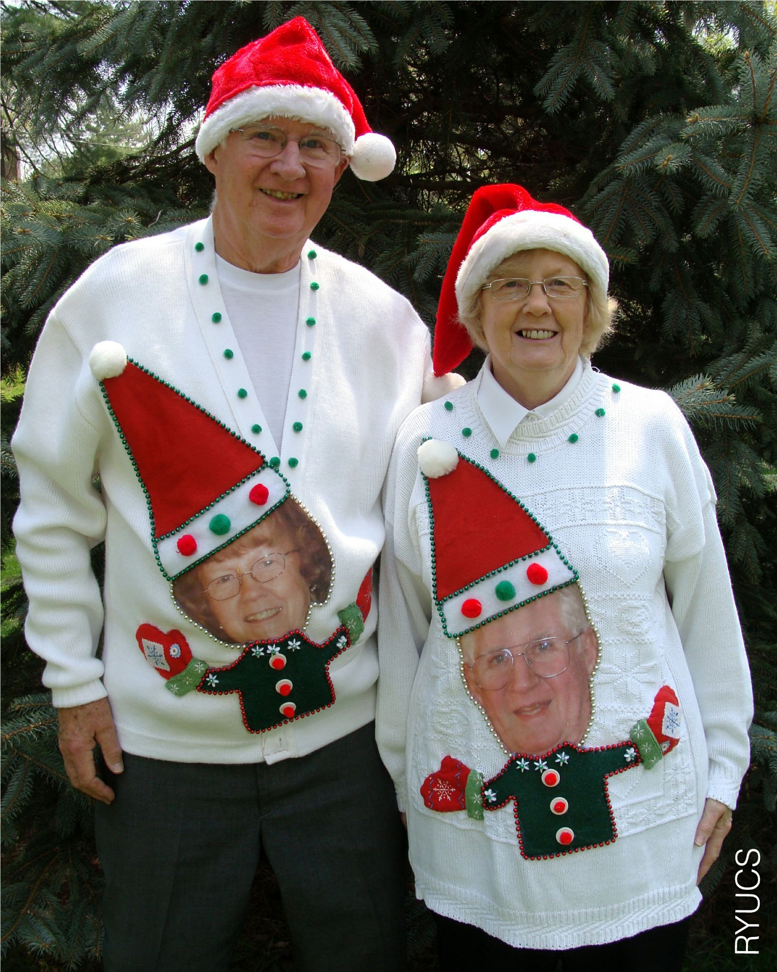 6bb9e22dfd64bb People+wearing+ugly+sweaters | Grandparents wearing funny custom-made ugly  Christmas sweaters are .