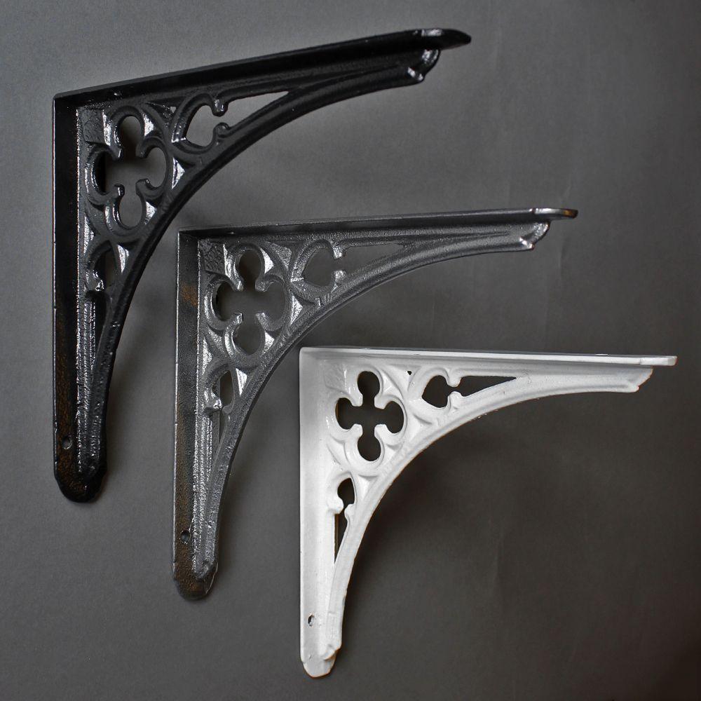 8 x 7 inch gothic cast iron shelf bracket cast iron. Black Bedroom Furniture Sets. Home Design Ideas