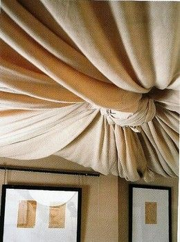 Try This In An Unfinished Basement The Benefits Of Fabric Ceiling Treatments Basement