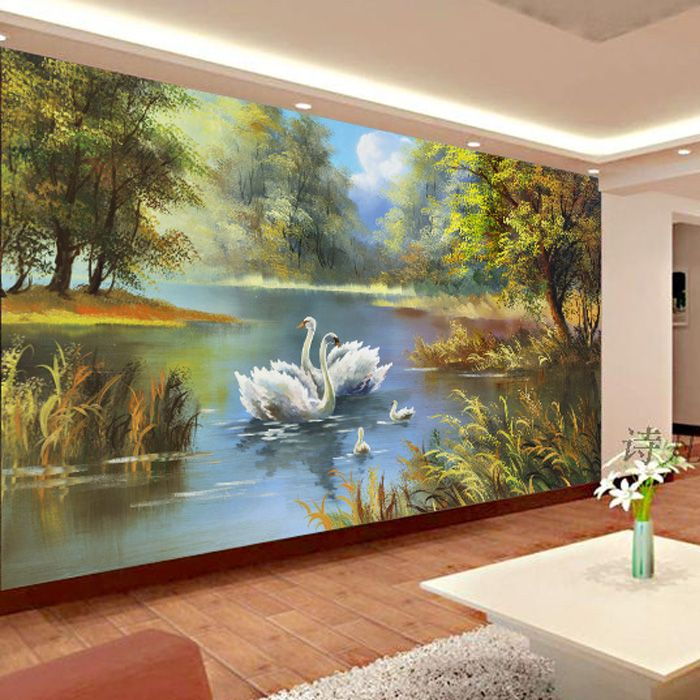 Venta al por mayor pa s paisaje lienzo de pintura 3d foto for Murales decorativos paisajes