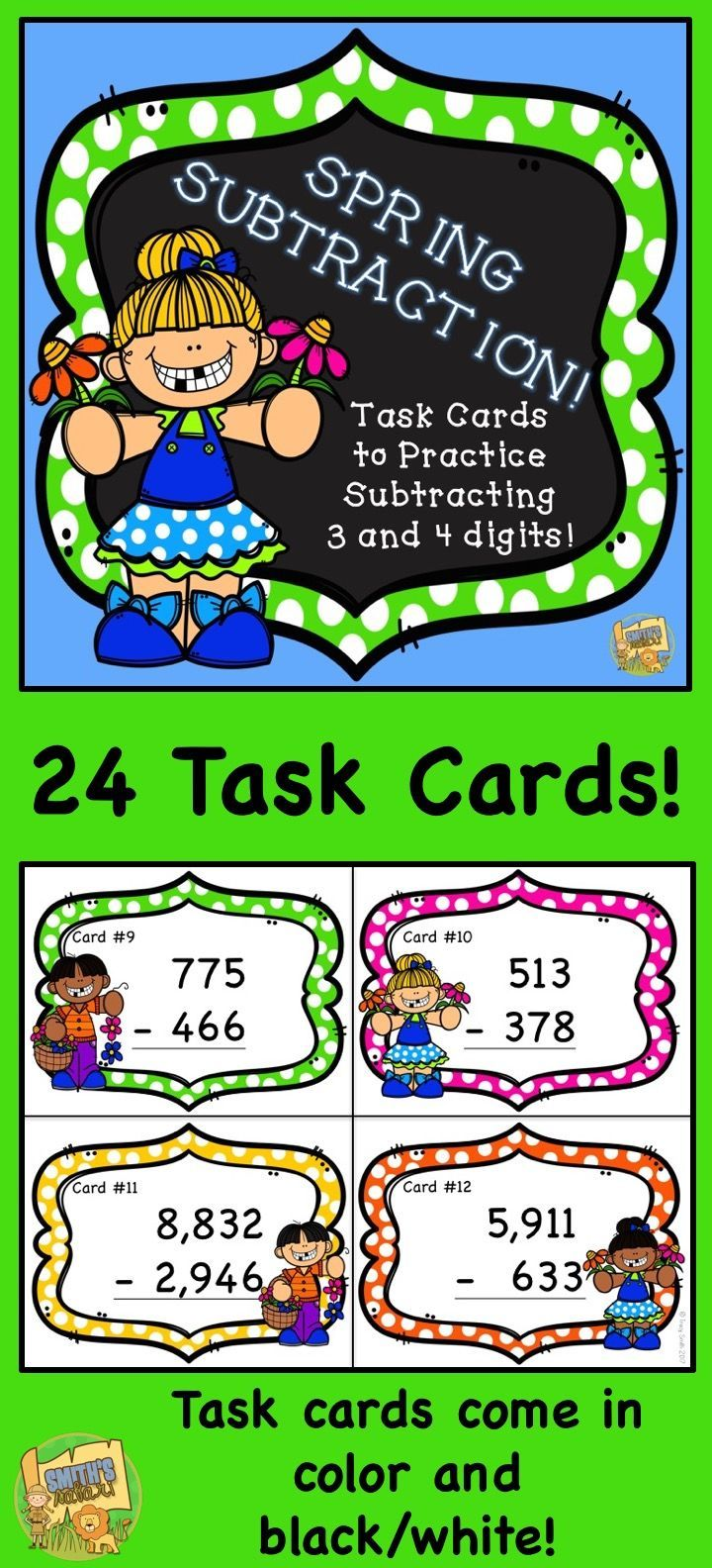 Subtraction - 3 and 4 digits! With Regrouping! 24 task cards to make ...