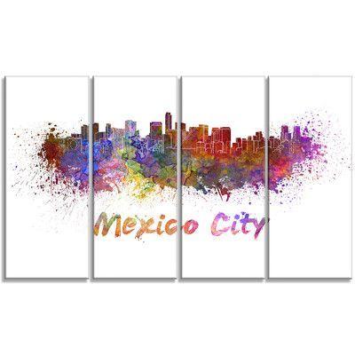 Designart Mexico City Skyline Cityscape 4 Piece Painting Print On Wrapped Canvas Set Wayfair Canvas Set Skyline Painting Painting Prints