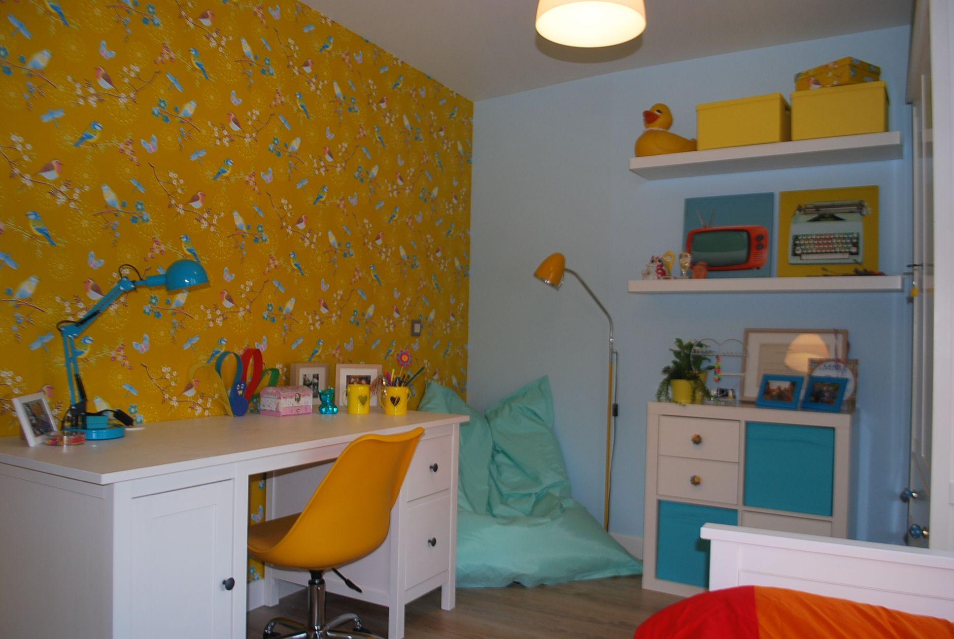 Behang Kinderkamer Geel : Pip behang vogeltjes geel kinderkamer pinterest