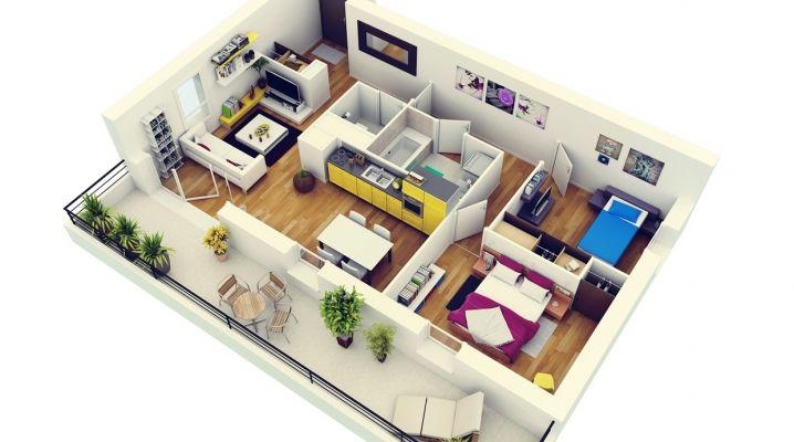 50 plans en 3d dappartement et de maisons intégrant deux chambres ils vous