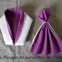 Pliages de serviettes costumes et robes pliages de serviettes pinterest pliage de - Pliage serviette costume ...