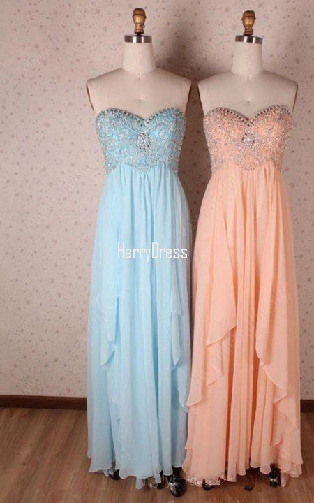 Blue Empire Sweetheart Chiffon Floor Length Sequins Long Prom Dress
