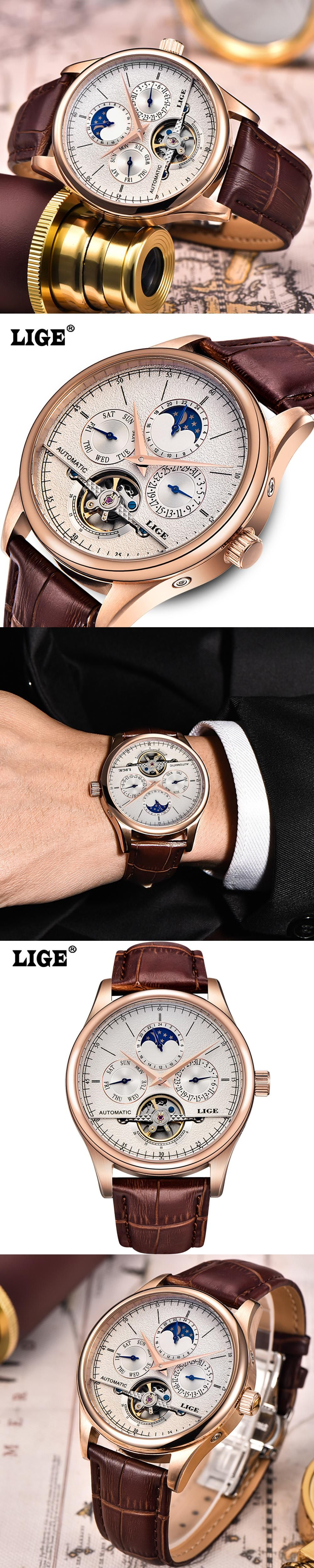 s watch men leather brand moon automatic casual pin lige tourbillon waterproof hollow phase business wrist watches