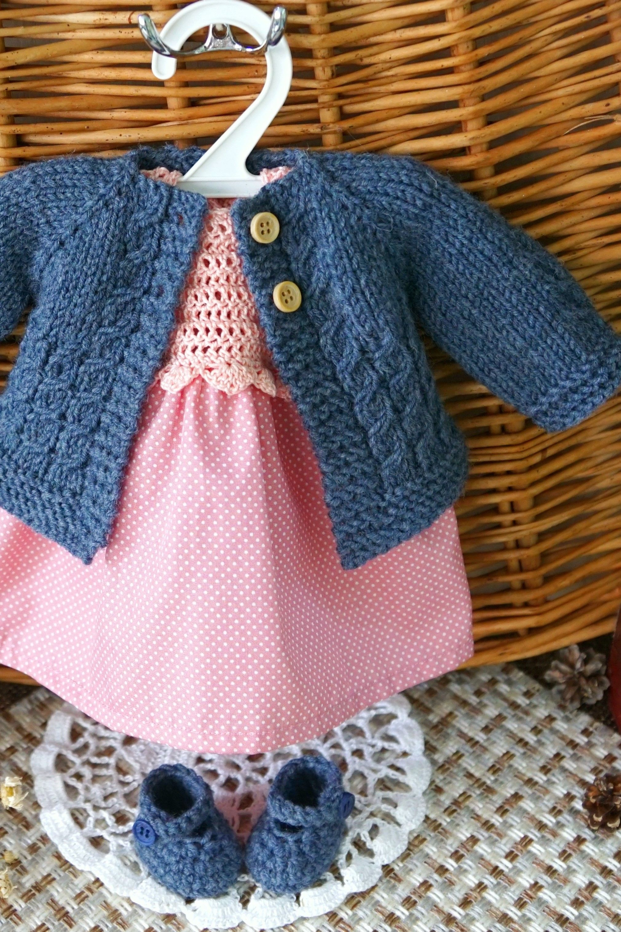 Doll clothes set, pink salmon cotton dress, denim blue knit jacket, blue Slippers. Handmade #dollclothes