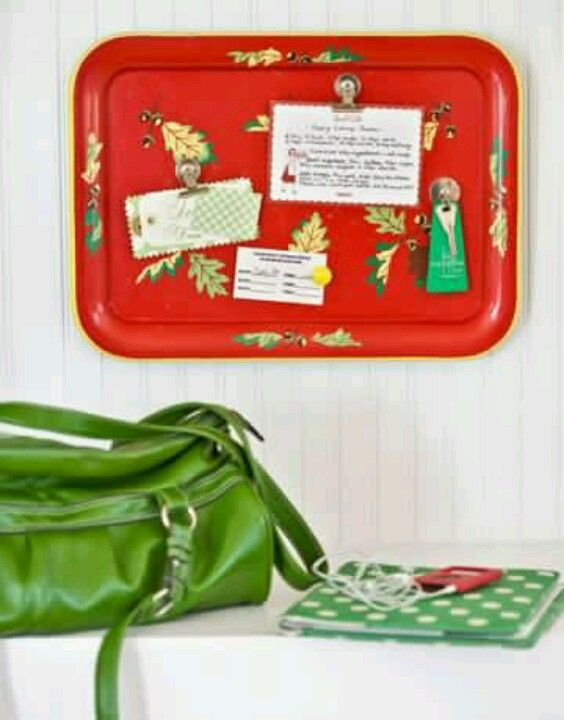 vintage t.v. tray! add hot glue and a wire to the back and instant retro magnetic message board!