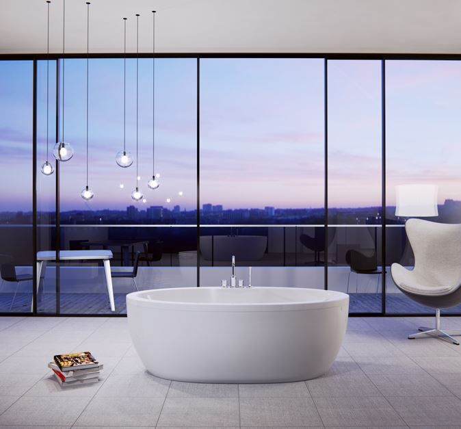 Freestanding Bathtub With Outside Covering From Slik Wave