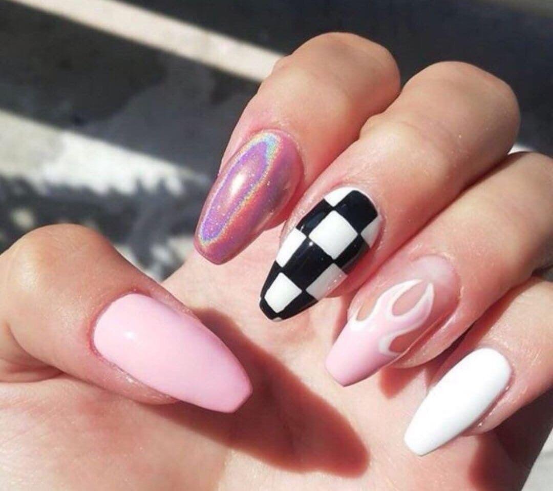 Pin By Alyona On Nogti Checkered Nails Pink Nails Swag Nails