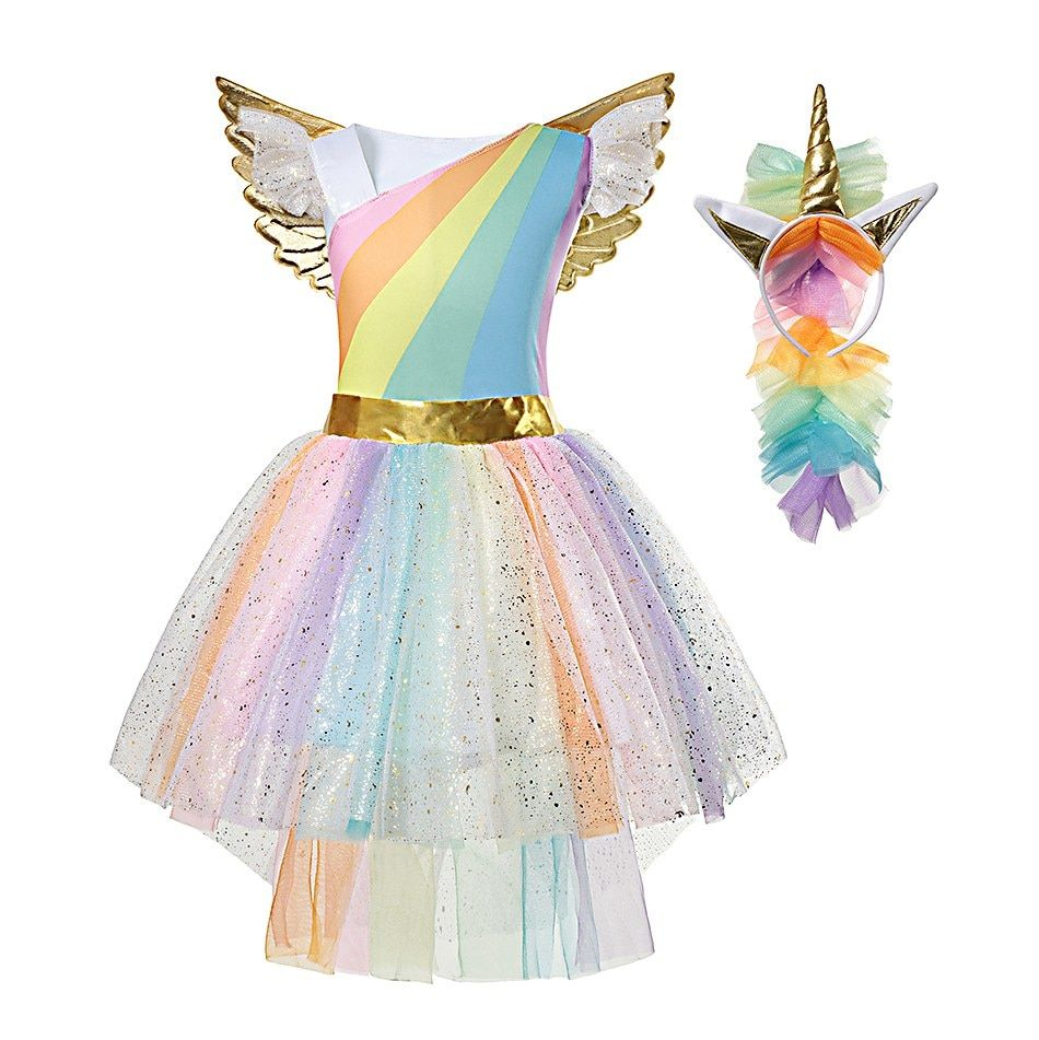 f26e2eecf3a2 Girls Rainbow Unicorn Dress Tutu Princess Lace Dresses | unicornios ...