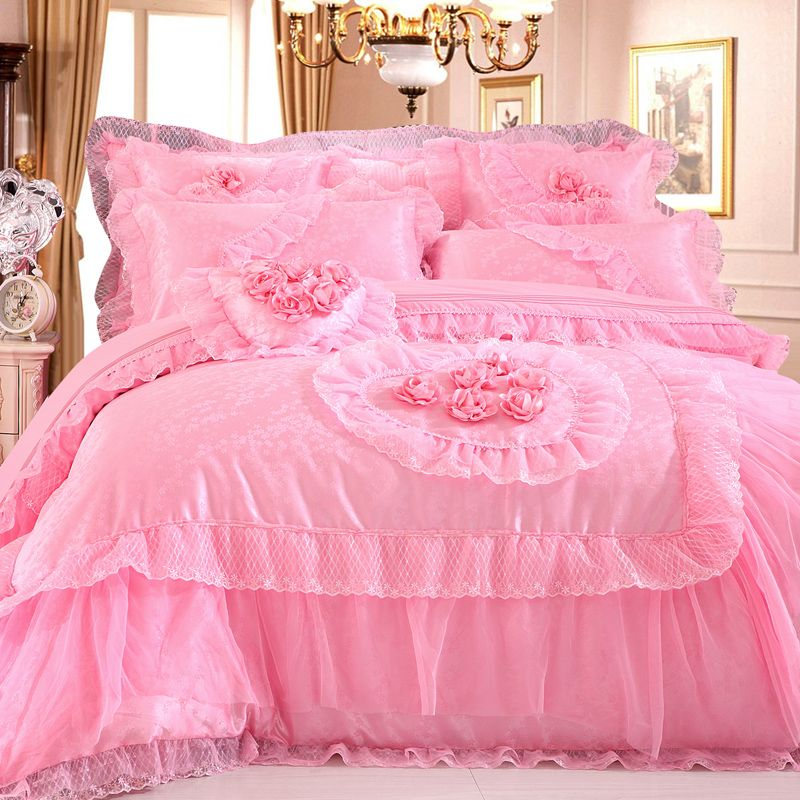 89aff4ee9f Aliexpress.com : Buy romantic solid Pink lover duvet cover set,luxury princess  lace ruffle bow bedding sets,wedding bedding,9pc,king queen,2 color from ...