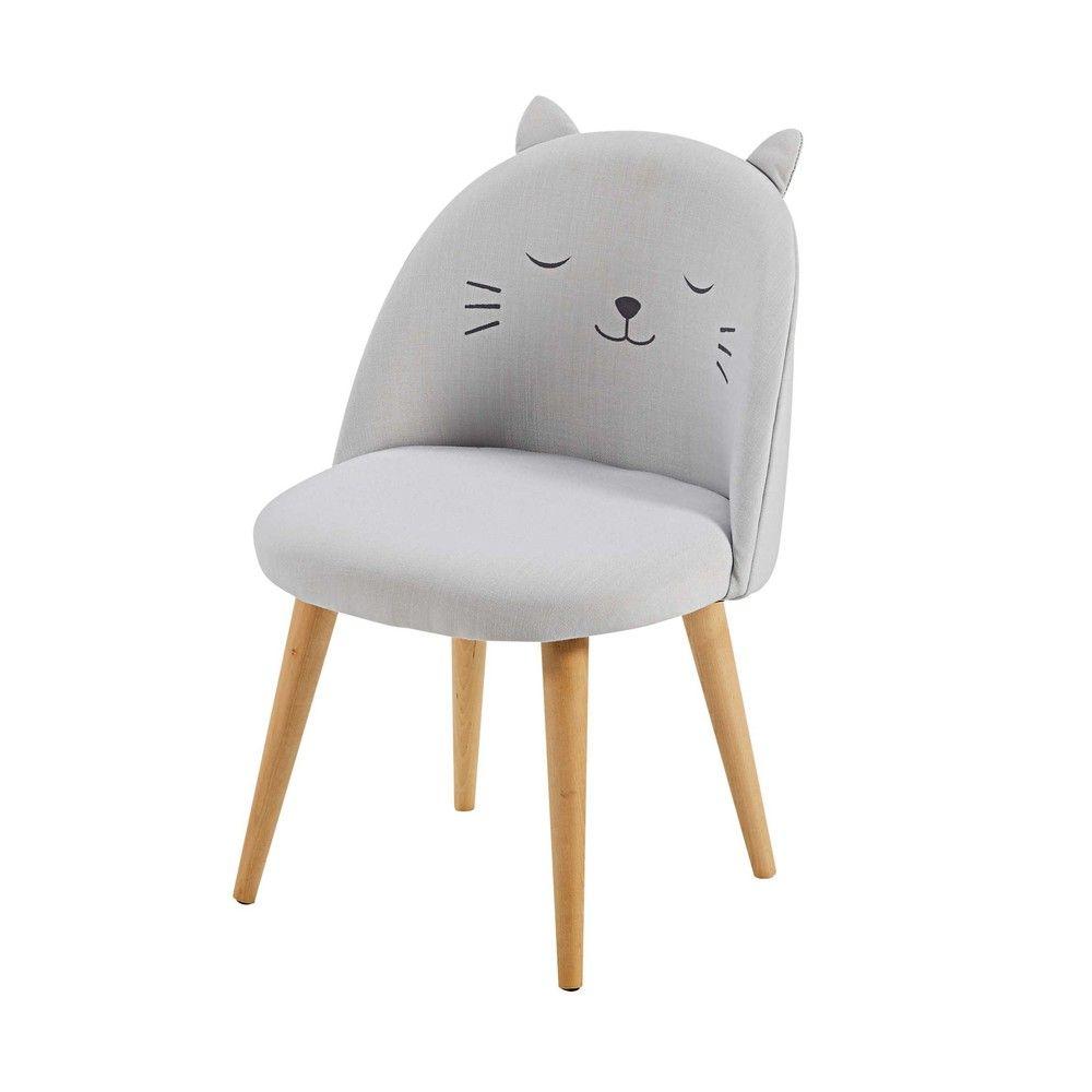 Chaise Enfant Gris Clair A Motifs Cats