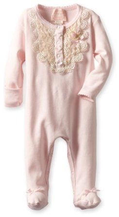 Amazon.com: Biscotti Baby-Girls Newborn Lace Lullaby Long Sleeve Footie: Clothing
