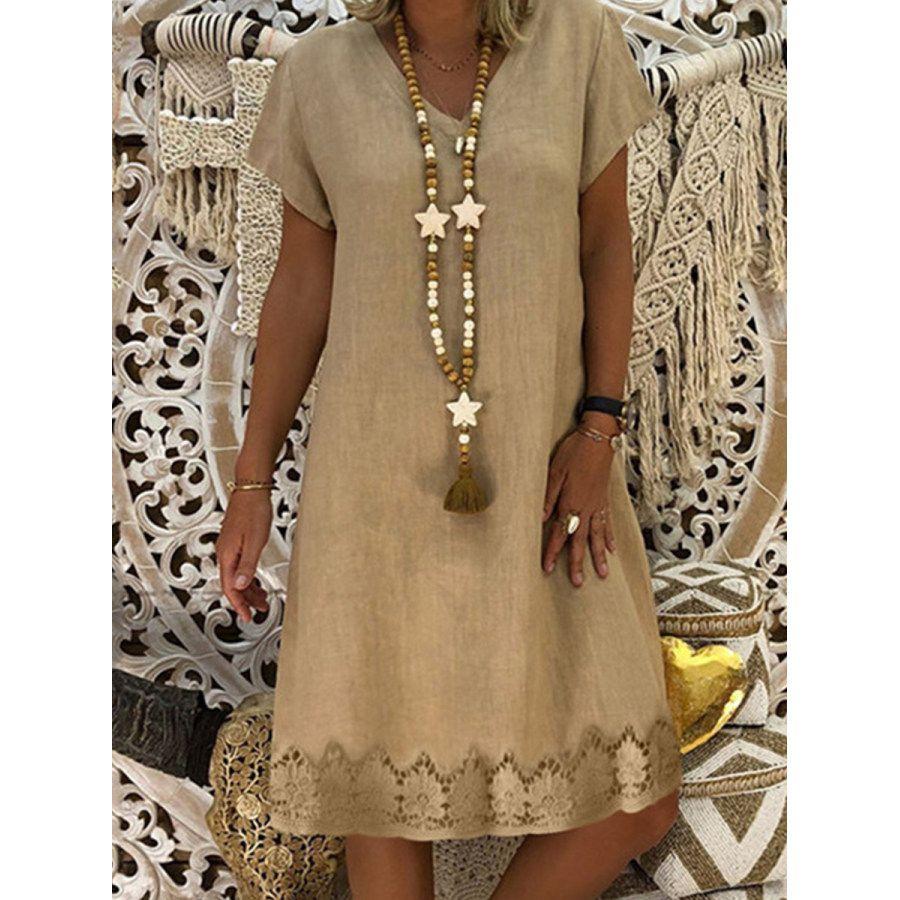 V Neck Printed Shift Dress Ootdmw Com In 2021 Midi Short Sleeve Dress Casual Summer Dresses Womens Shift Dresses [ 900 x 900 Pixel ]