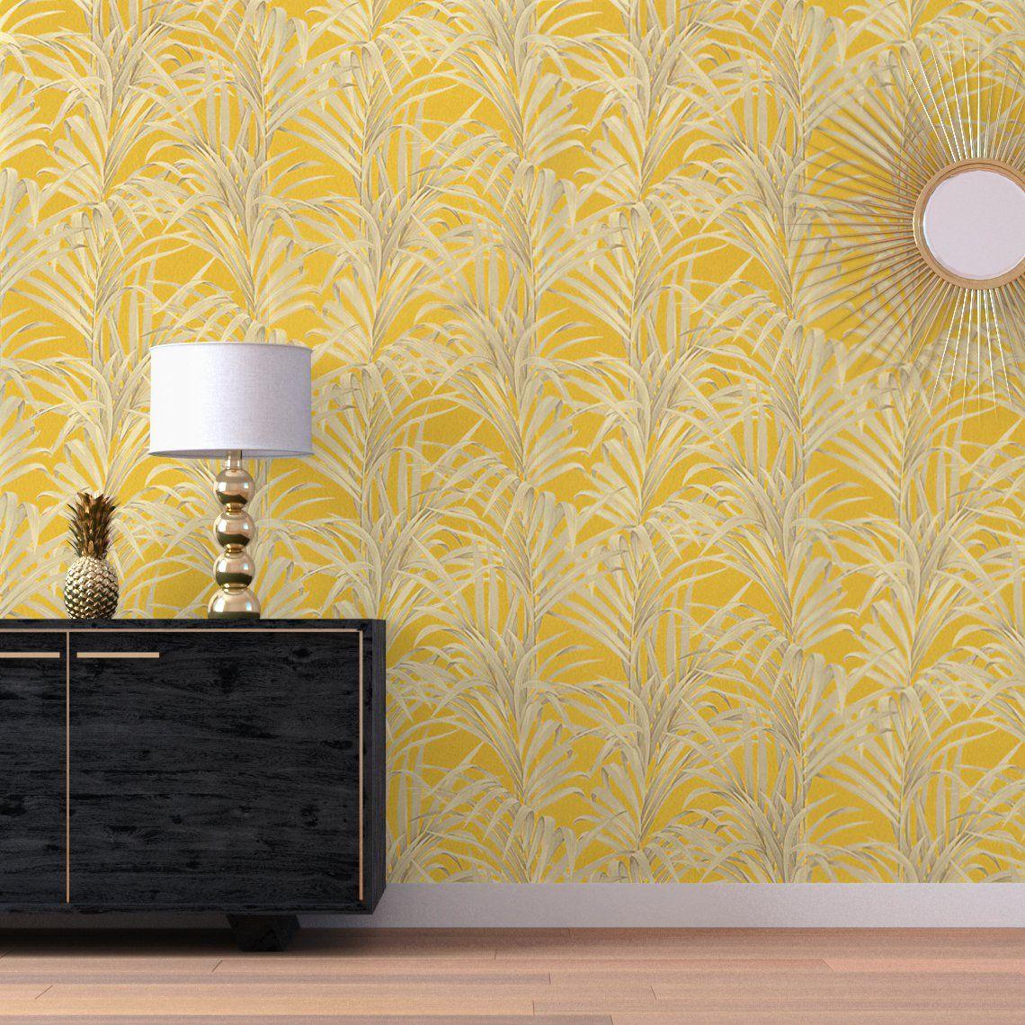 Papier Peint Domitille 100 Intissé Motif Tropical Jaune Moutarde