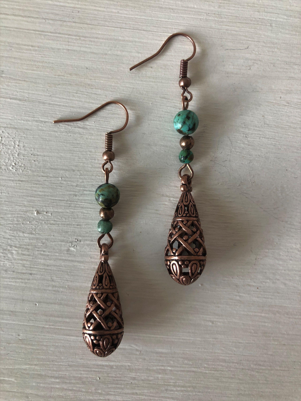 Dangle Earrings Boho Dangle Earrings Copper /& Turquoise  Dangle Earrings Copper Dangle Earrings