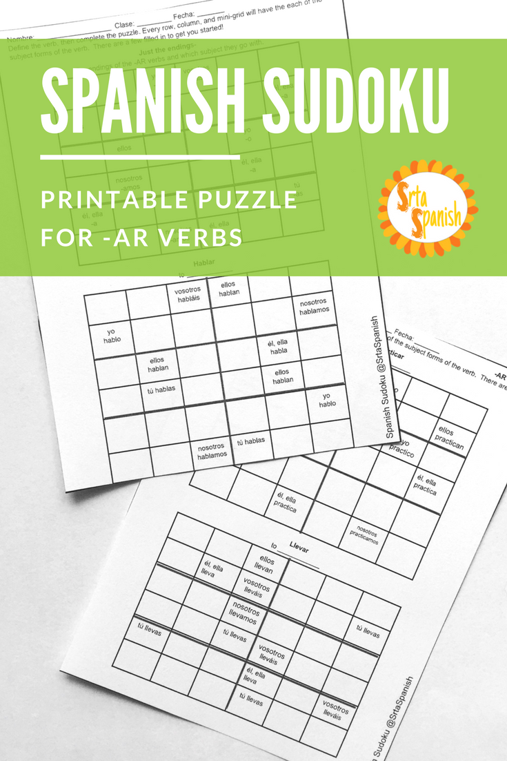 worksheet Conditional Tense Spanish Practice Worksheets ar verbs present tense spanish sudoku activity logic puzzles activity