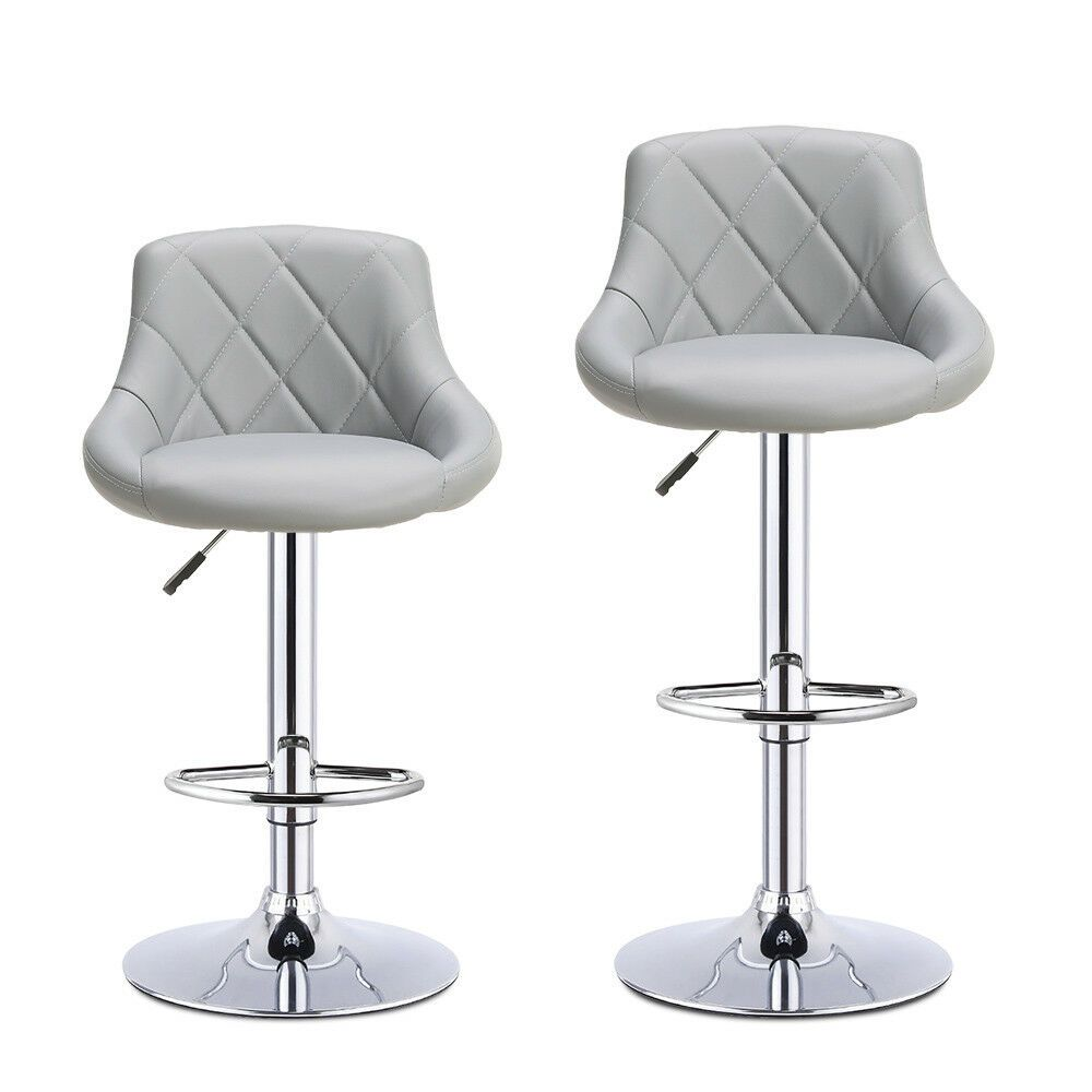 Miraculous Details About 2 X Grey Madrid Gas Lift Faux Leather Bar Ibusinesslaw Wood Chair Design Ideas Ibusinesslaworg
