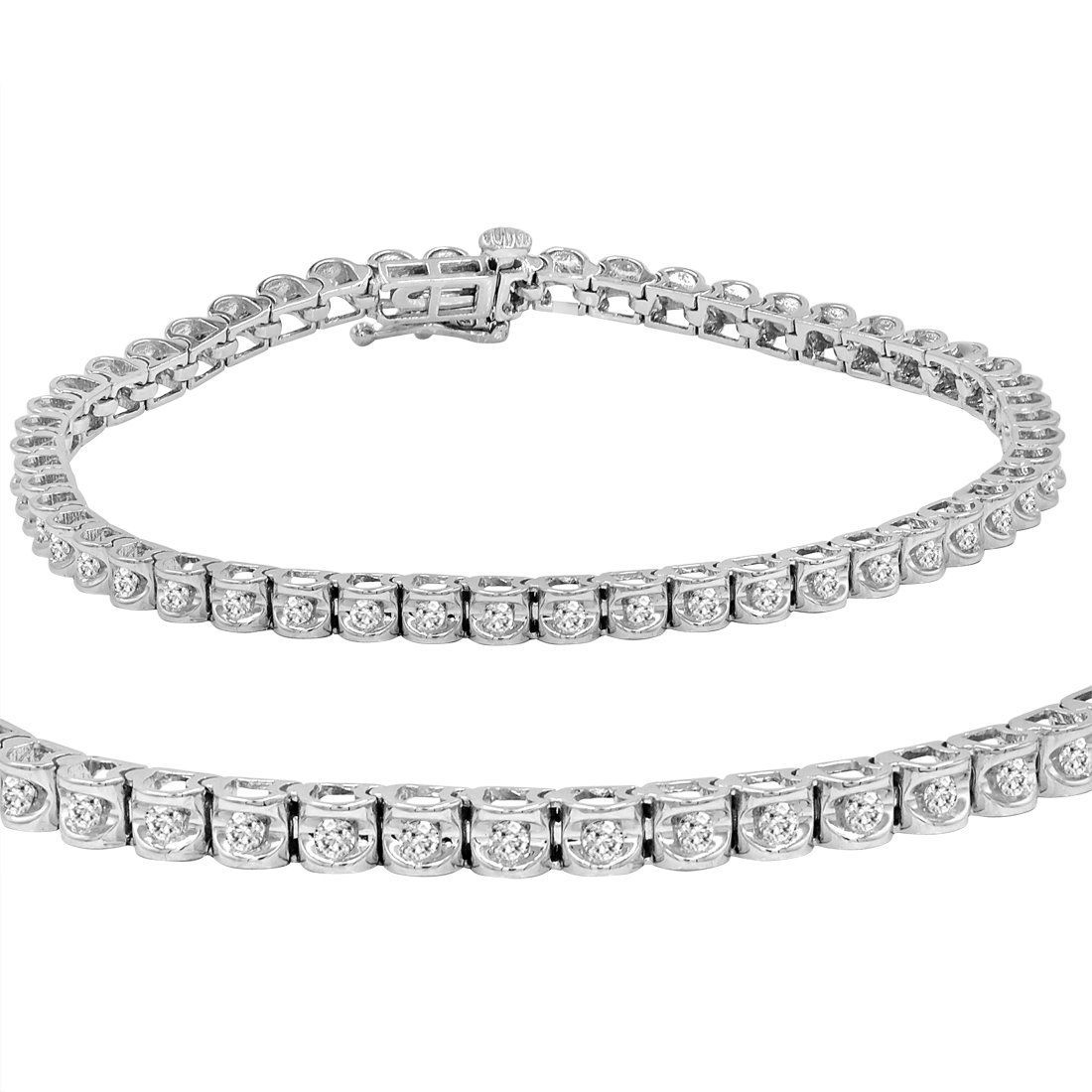 1 Carat Of Diamonds Set In A 7 Inch Diamond Tennis Bracelet Certified By The American Gem Society Tennis Bracelet Diamond Turquoise Sterling Silver Jewelry
