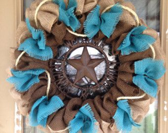 Burlap Western Wreath Natural Brown And Red Chevron Welcome Arabescos Pinterest Cowboy