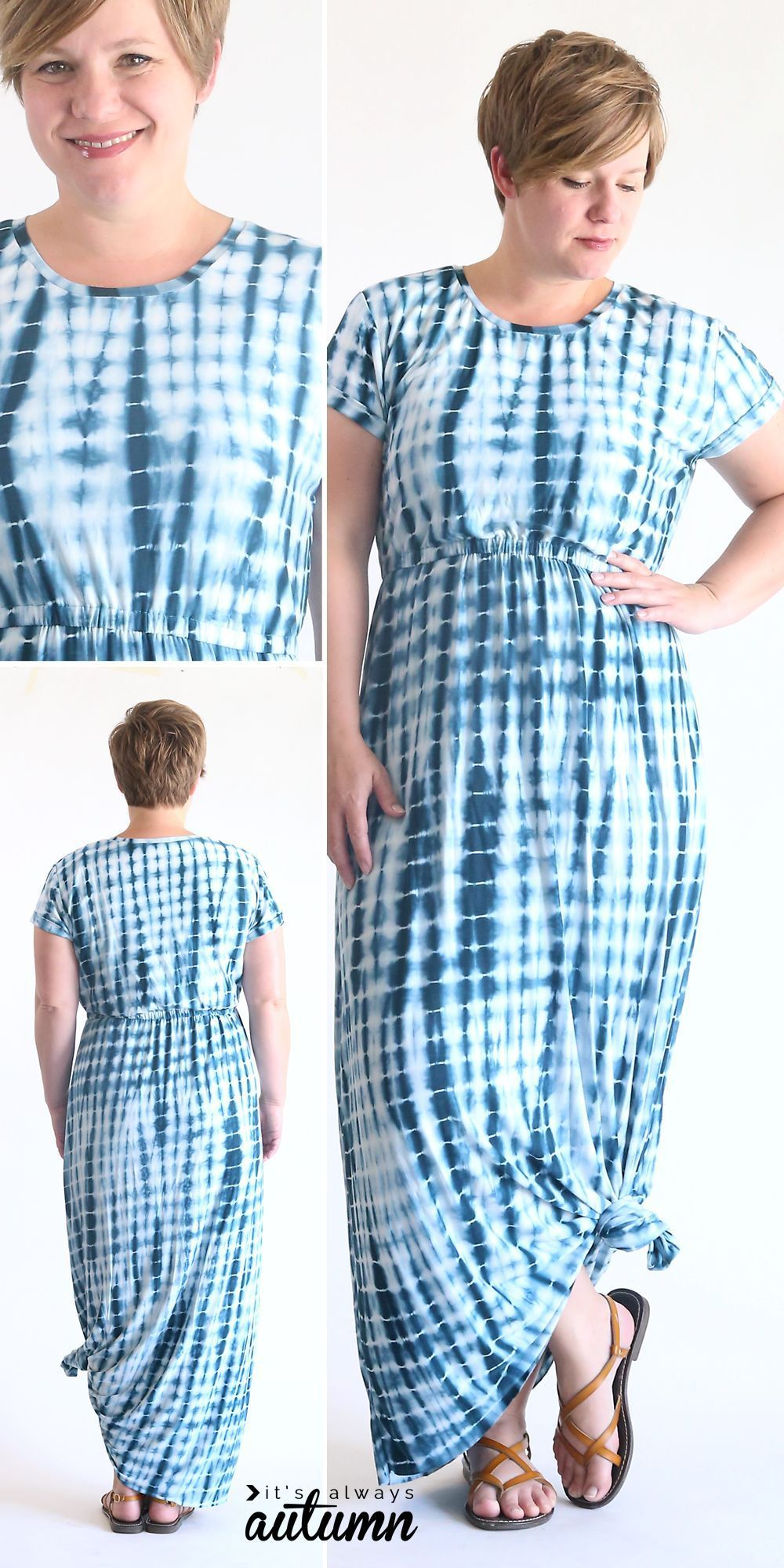 How to sew an easy cap sleeve maxi dress using a free tee shirt