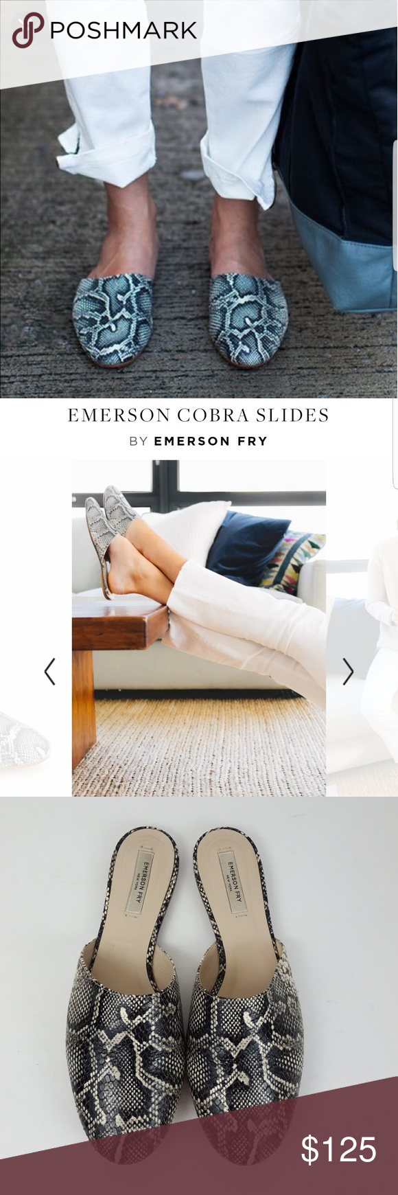Emerson Fry Cobra Slides Leather Emerson Fry Cobra Slides. Leather outer soles and interior soles.   ***Shoes Still in stores at MSRP$240***  No tears, no stains.  Size US 9, true to size. Will also fit US 8.5 Emerson Fry Shoes Flats & Loafers #emersonfry Emerson Fry Cobra Slides Leather Emerson Fry Cobra Slides. Leather outer soles and interior soles.   ***Shoes Still in stores at MSRP$240***  No tears, no stains.  Size US 9, true to size. Will also fit US 8.5 Emerson Fry Shoes Flats & Loafers #emersonfry
