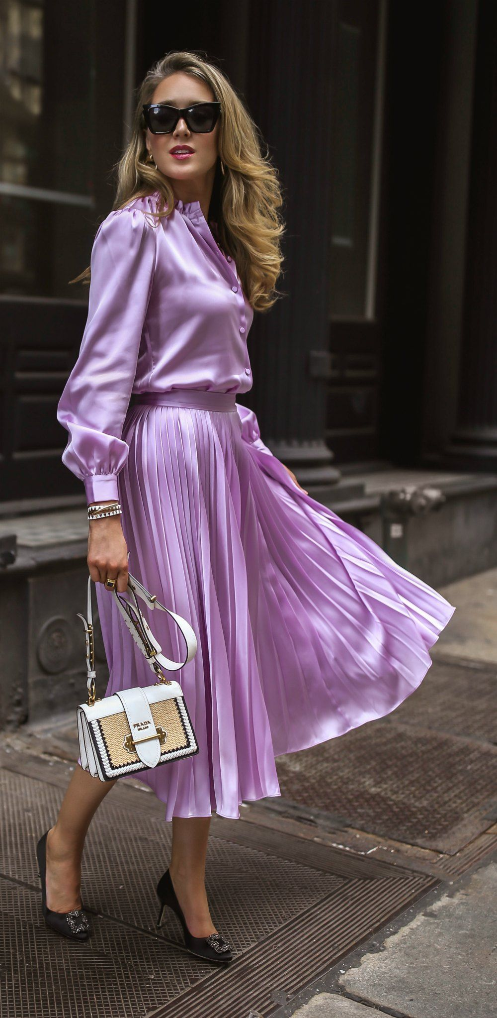 Calling all girls who run the world lilac silk buttonup blouse