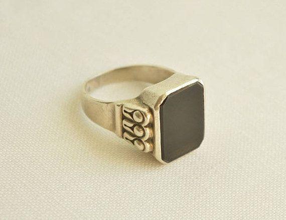 Art Deco ONYX Silver 835 Signet RING Men Ring Antique Ring